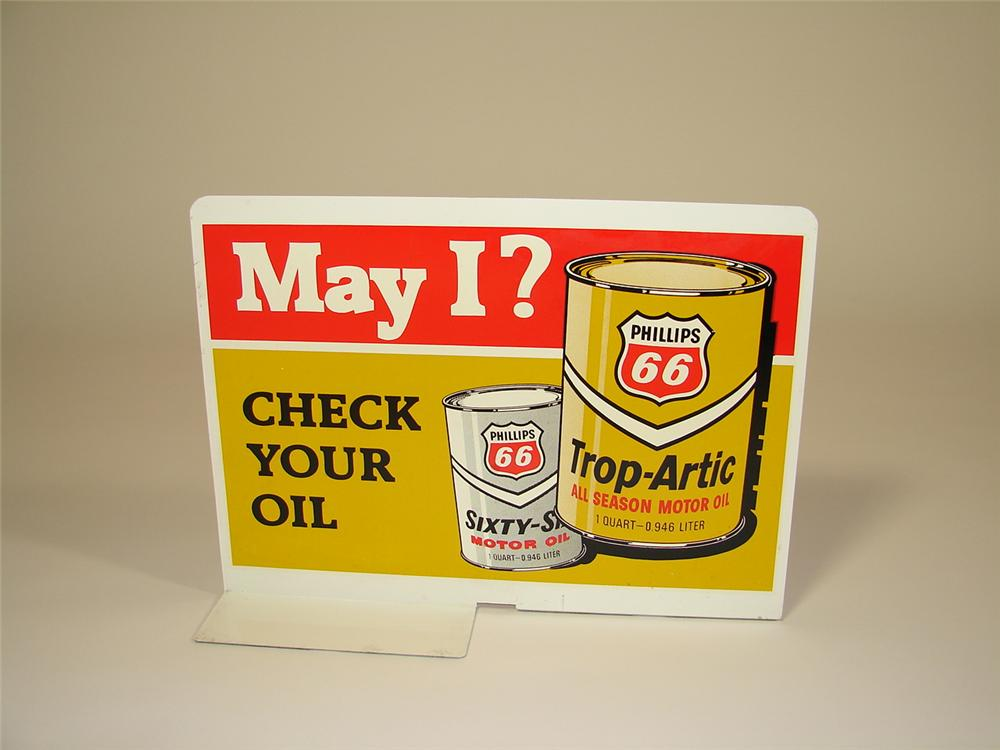"N.O.S. 1960s Phillips 66 ""May I Check Your Oil"" double-sided tin service station sign. - Front 3/4 - 79375"