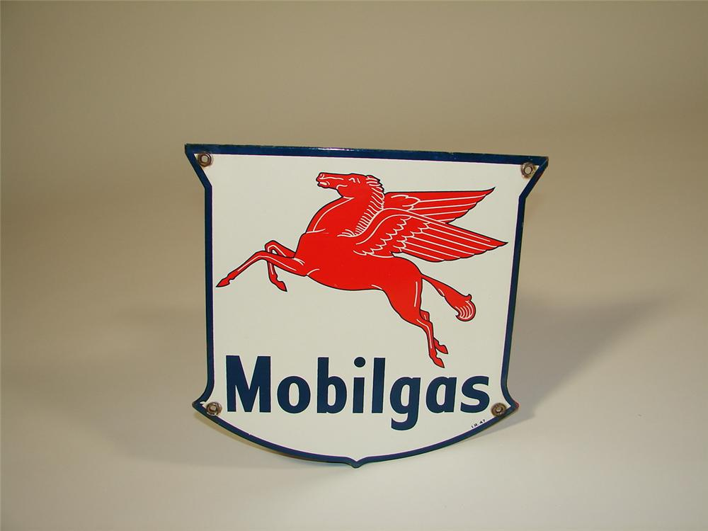 Very clean 1947 Mobilgas shield-shaped porcelain pump plate sign. - Front 3/4 - 79379
