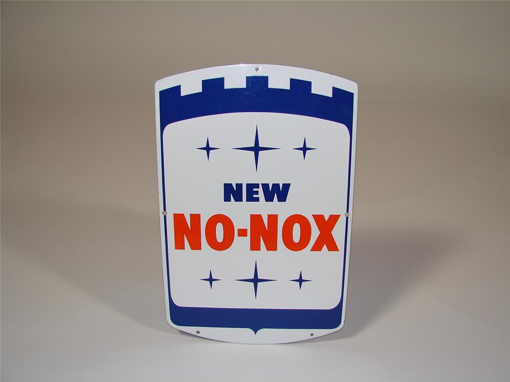 "N.O.S. 1960s Gulf ""New No-Nox"" porcelain pump plate sign. - Front 3/4 - 79382"