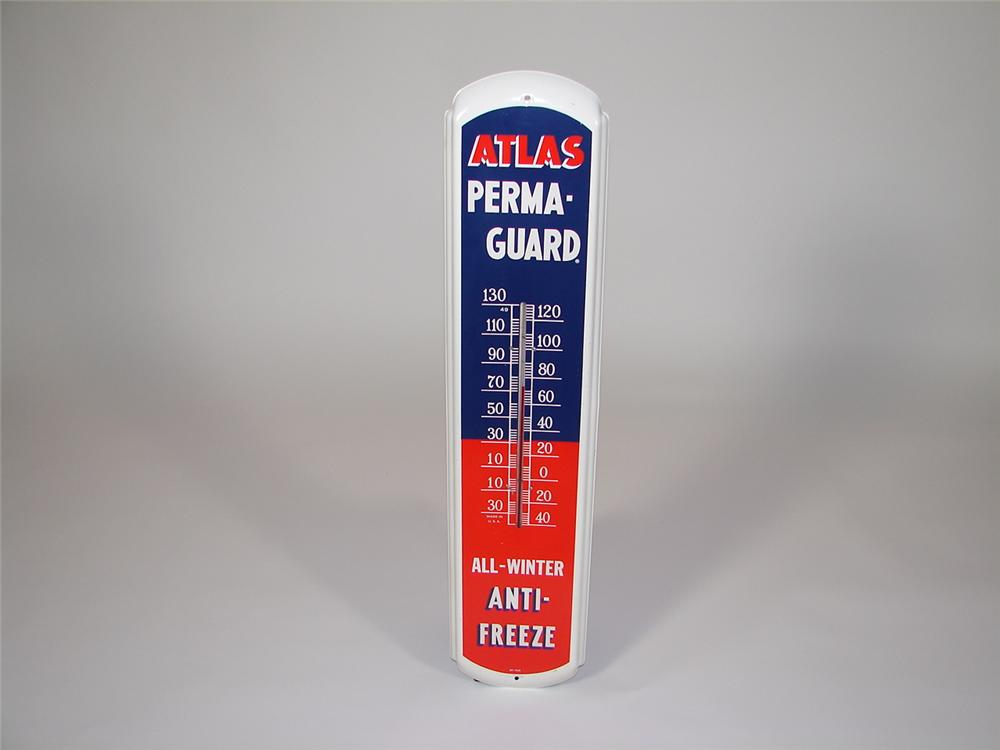 Magnificent 1950s Atlas Anti-Freeze over-sized tin painted service station thermometer. - Front 3/4 - 79385