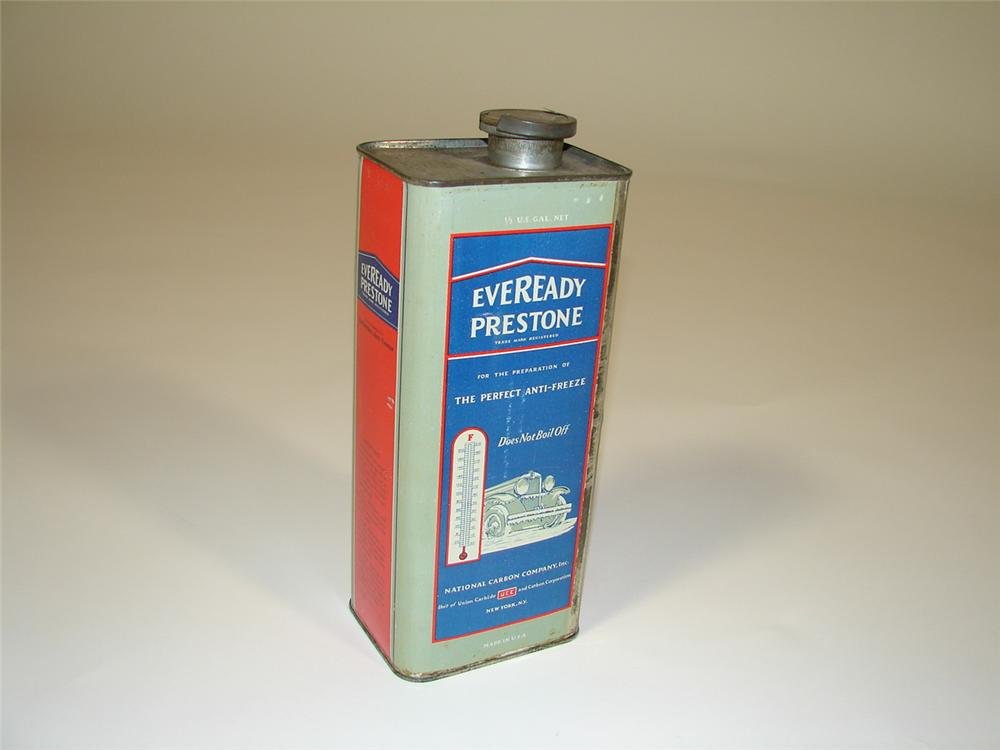 1929 Eveready Prestone Anti-Freeze solder seamed metal can with car graphic. - Front 3/4 - 79388