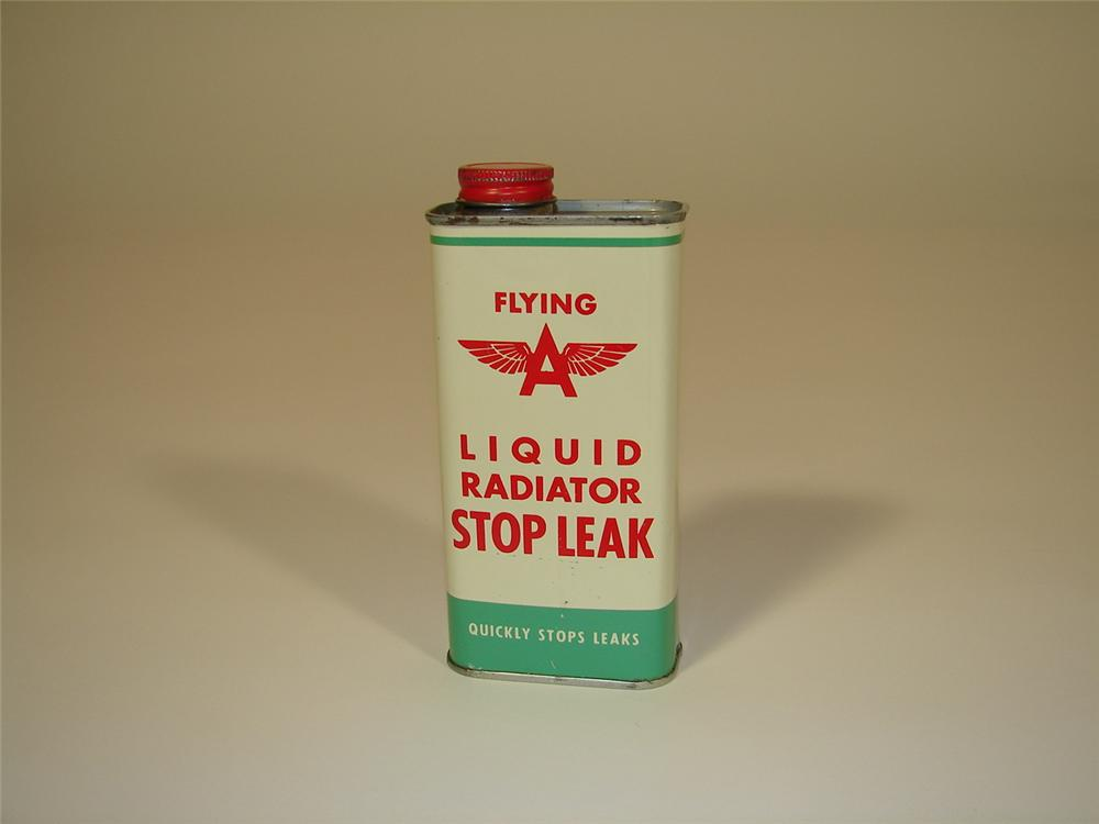 Very clean 1940s-50s Flying A Radiator Stop Leak ten ounce tin. - Front 3/4 - 79396