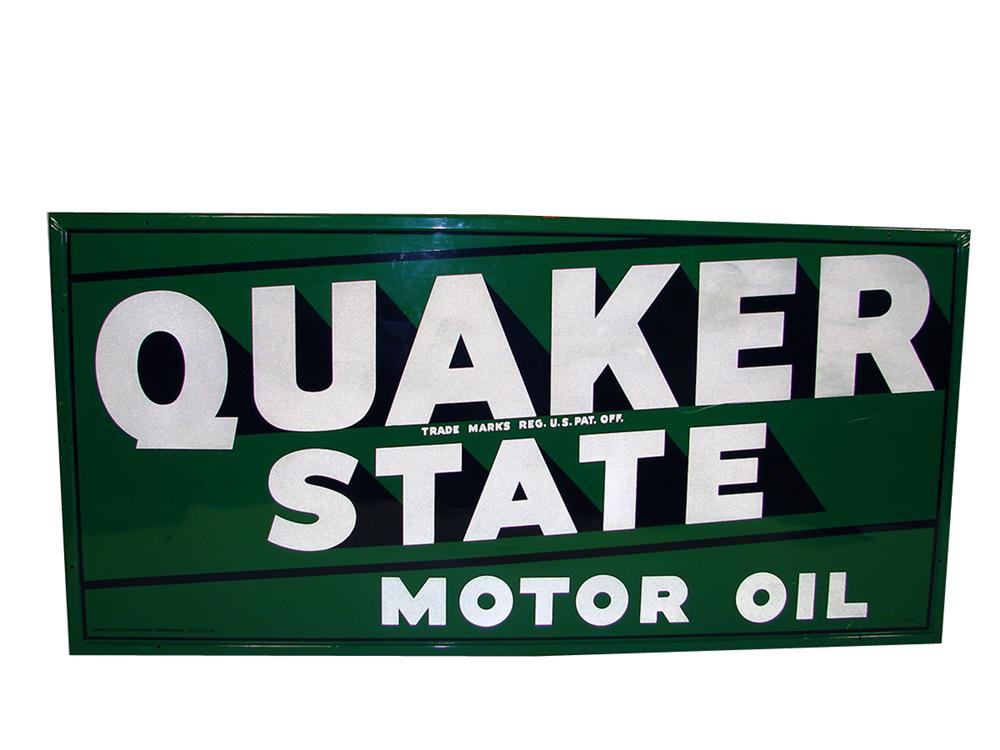 Large 1940s Quaker State Motor Oil wood framed tin painted garage sign. - Front 3/4 - 79397