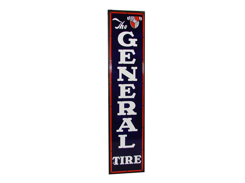 Impressive N.O.S. 1930s The General Tire single-sided wood framed porcelain vertical garage sign. - Front 3/4 - 79398