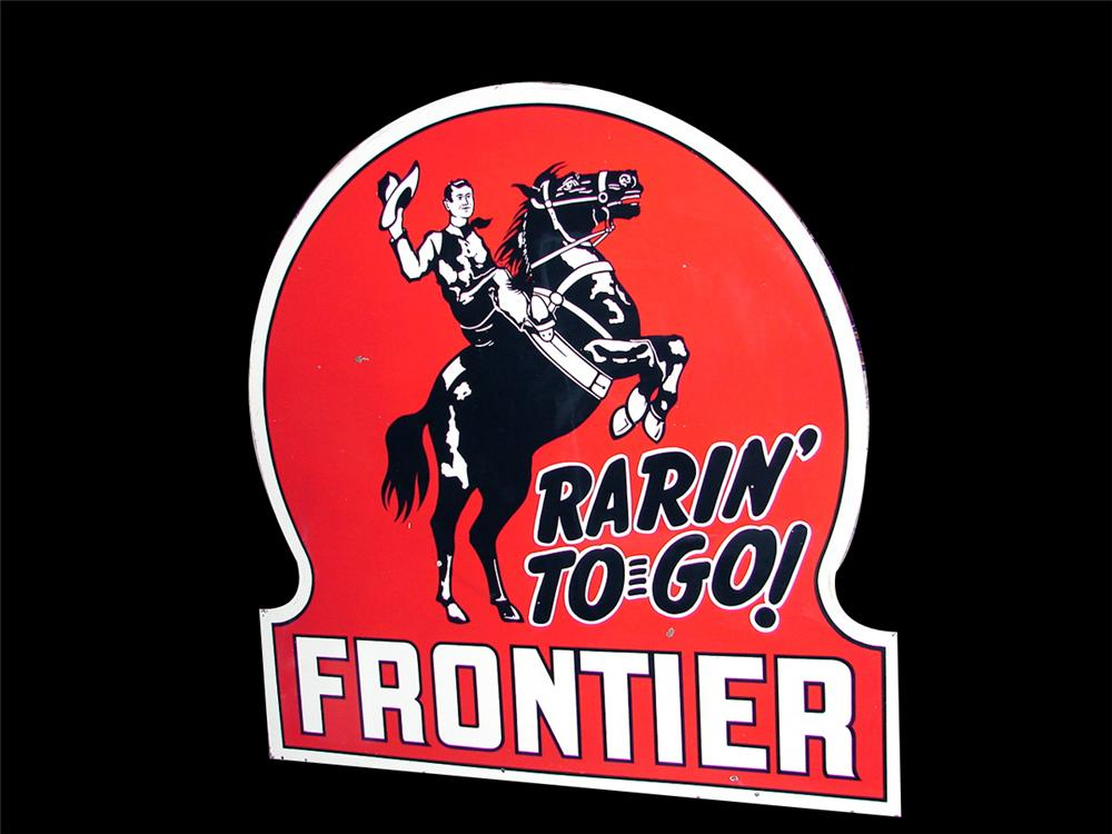 Extremely hard to find 1940s-50s Frontier Gasoline double-sided porcelain key-hole shaped service station sign. - Front 3/4 - 79399