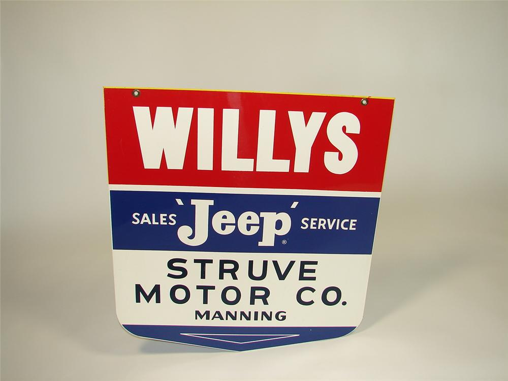 Immensely clean 1950s Willys Jeep Service double-sided tin dealership sign. - Front 3/4 - 79400