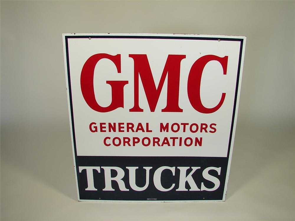 Seldom Seen 1950s GMC Trucks double-sided porcelain dealership sign. - Front 3/4 - 79403