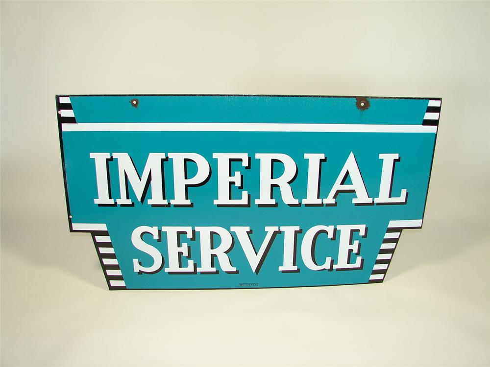 Rare 1950s Chrysler Imperial Service double-sided porcelain dealership sign. - Front 3/4 - 79404