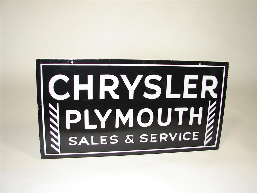 1930s Chrysler-Plymouth Sales and Service double-sided porcelain dealership sign. - Front 3/4 - 79405