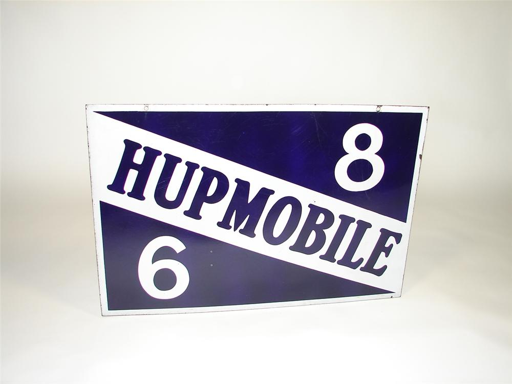 Museum quality 1930s Hupmobile 6-8 double-sided porcelain dealership sign. - Front 3/4 - 79407
