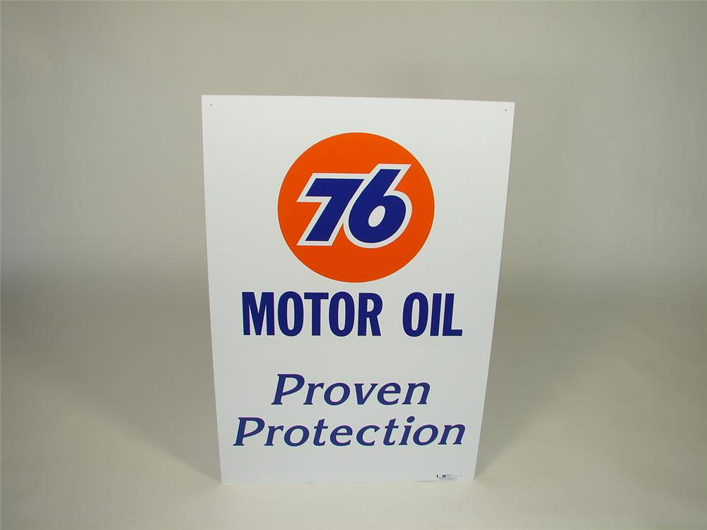 "Very clean Union 76 Motor Oil ""Proven Protection"" single-sided tin garage sign. - Front 3/4 - 79408"