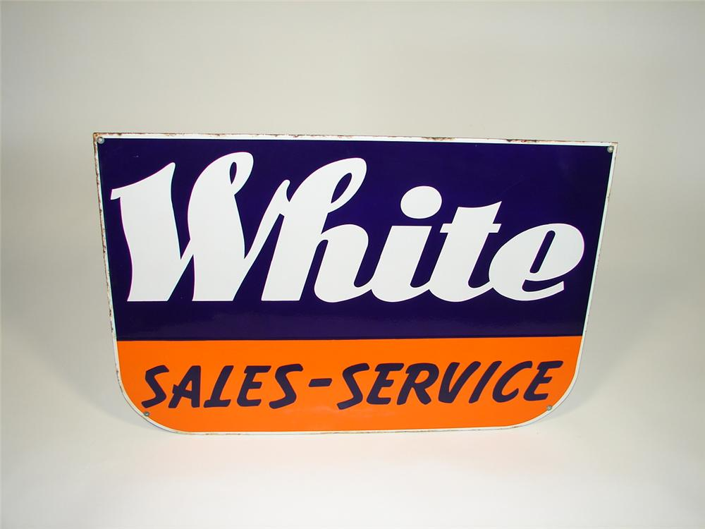 1950s White Trucks Sales and Service single-sided porcelain dealership sign. - Front 3/4 - 79410