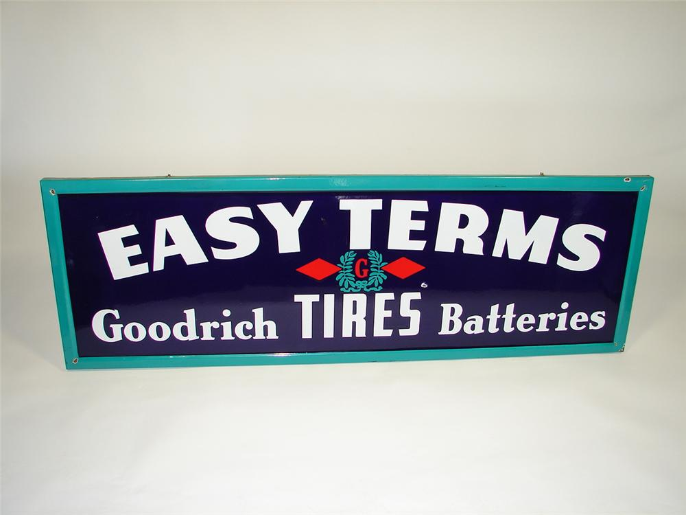 "1930s Goodrich Tires and Batteries ""Easy Terms"" single-sided porcelain garage sign. - Front 3/4 - 79411"