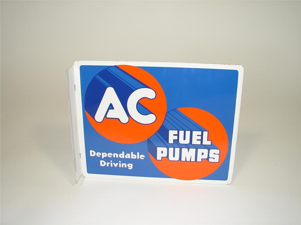 N.O.S. 1955 AC Fuel Pumps double-sided tin garage flange sign. - Front 3/4 - 79412