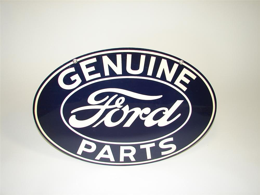 N.O.S. 1930s Ford Genuine Parts double-sided tin garage sign. - Front 3/4 - 79413