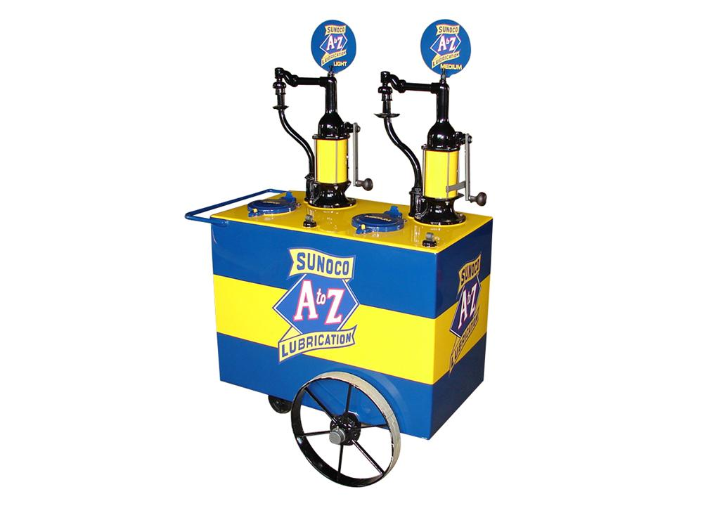 Superlative late 1920s-early 30s Sunoco A-Z Lubrication restored service station oil cart. - Front 3/4 - 79420