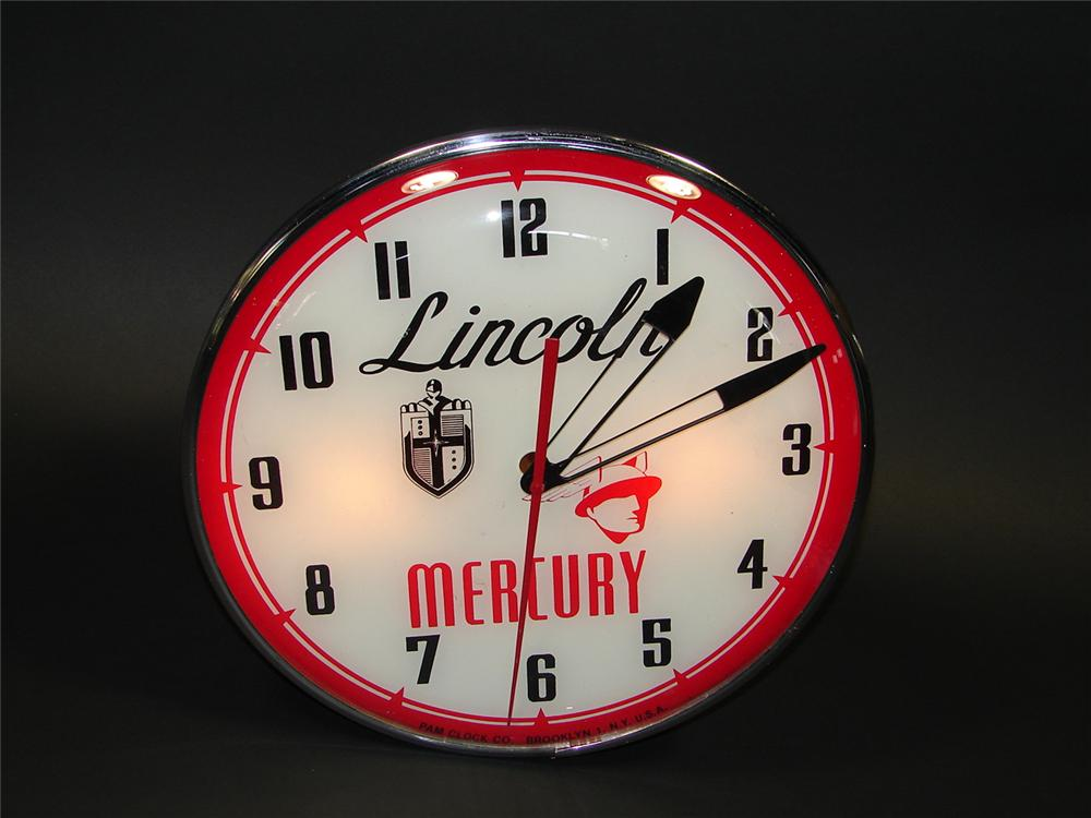 Impossible to find 1950s Lincoln Mercury glass faced light-up dealership clock. - Front 3/4 - 79423