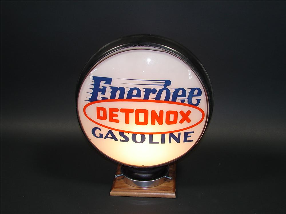 "Near impossible to find 1930s Pure Oil Energee Detonox Gasoline metal bodied globe with 15"" lenses. - Front 3/4 - 79426"