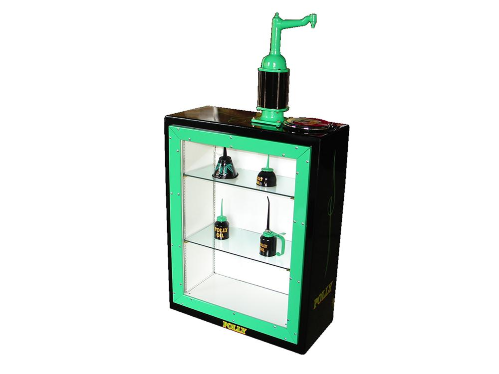 Sharp Polly Gasoline 30 gallon lubester cleverly restored into an interior lit display case. - Front 3/4 - 79427