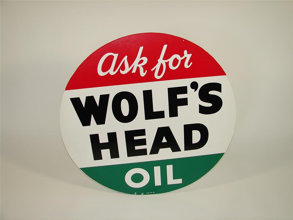 N.O.S. 1957 Wolfs Head Motor Oil double-sided tin garage sign. - Front 3/4 - 79428