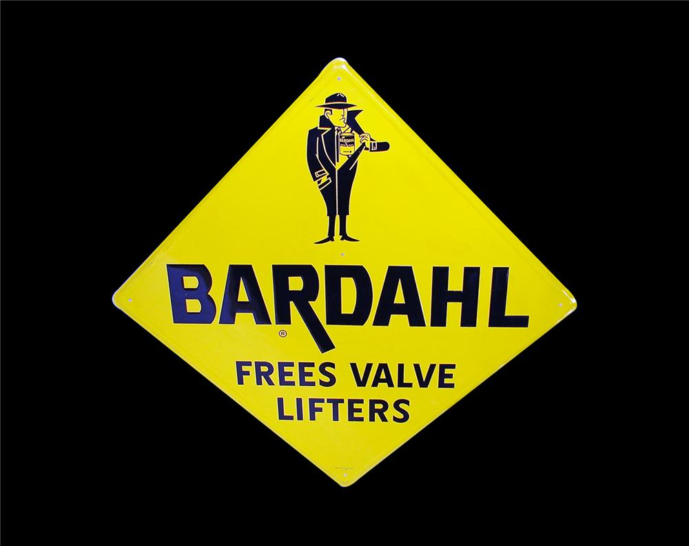 Killer 1966 Bardahl Oil Additive single-sided tin embossed garage sign. - Front 3/4 - 79429