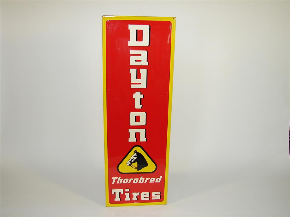 Very clean 1953 Dayton Thorobred Tires self-framed vertical tin embossed garage sign. - Front 3/4 - 79430