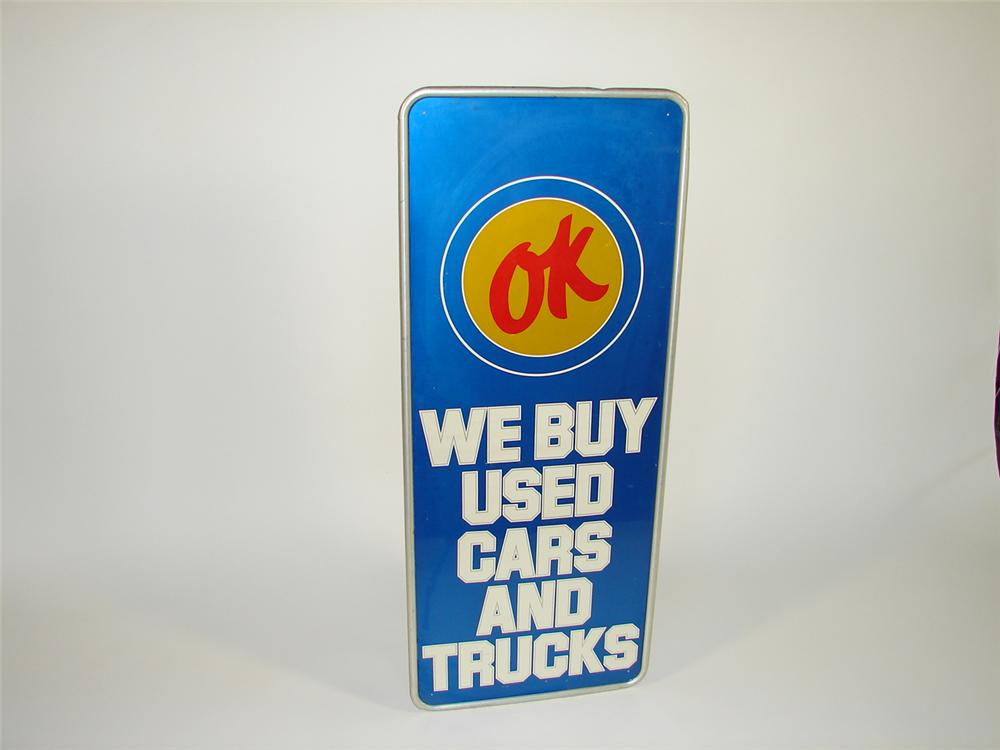 Hard to find 1960s Chevrolet OK Used Cars self-framed single-sided tin dealership sign. - Front 3/4 - 79431