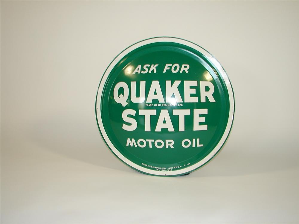 Sharp N.O.S. 1960s Quaker State Motor Oil convexed tin painted garage sign. - Front 3/4 - 79432
