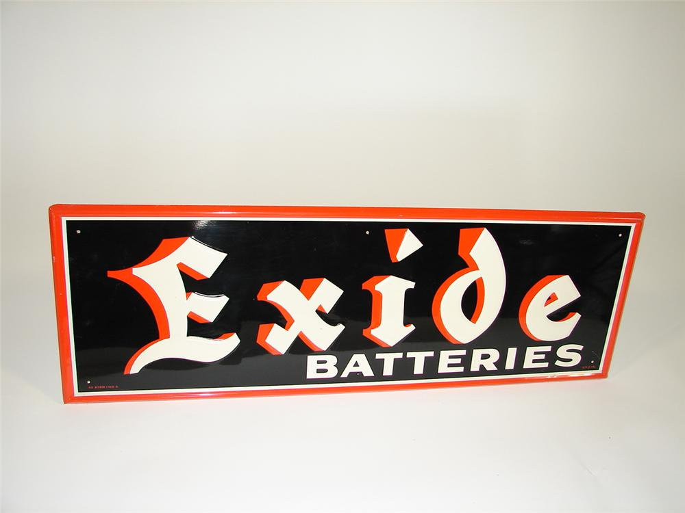 Striking 1954 Exide Batteries single-sided self-framed tin garage sign. - Front 3/4 - 79438