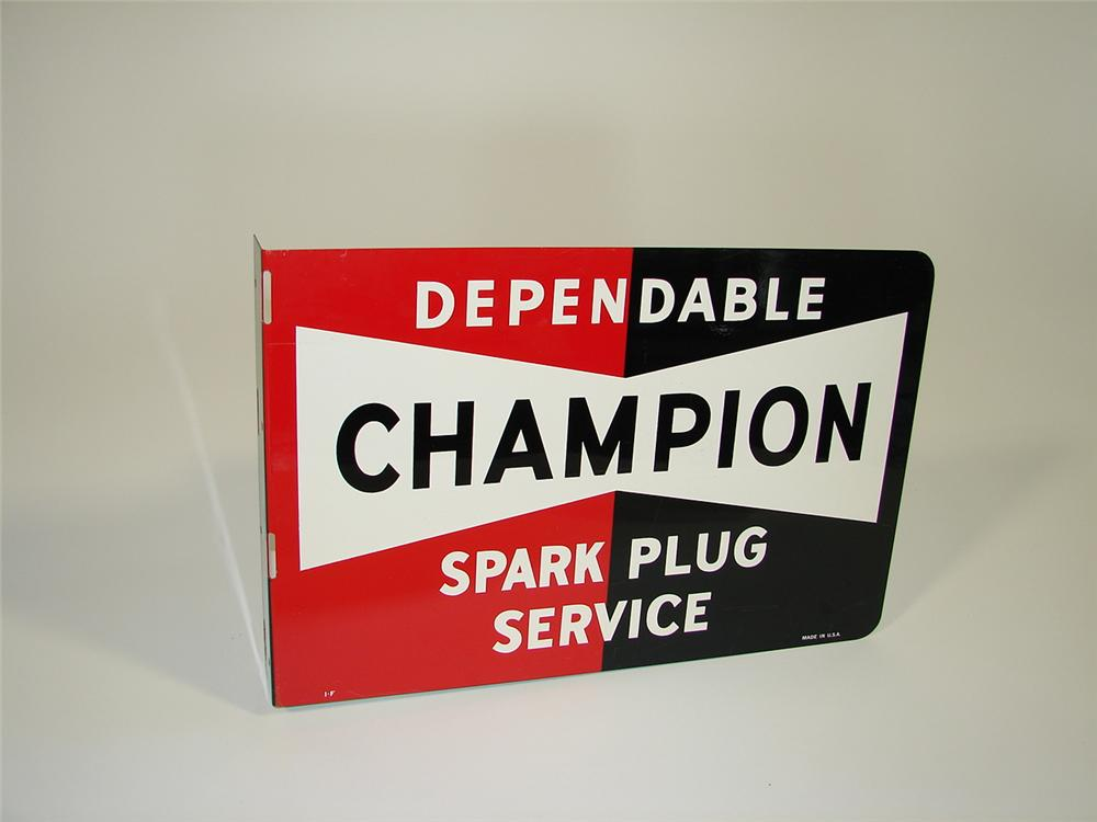 1950s Champion Spark Plugs double-sided tin garage flange. - Front 3/4 - 79439