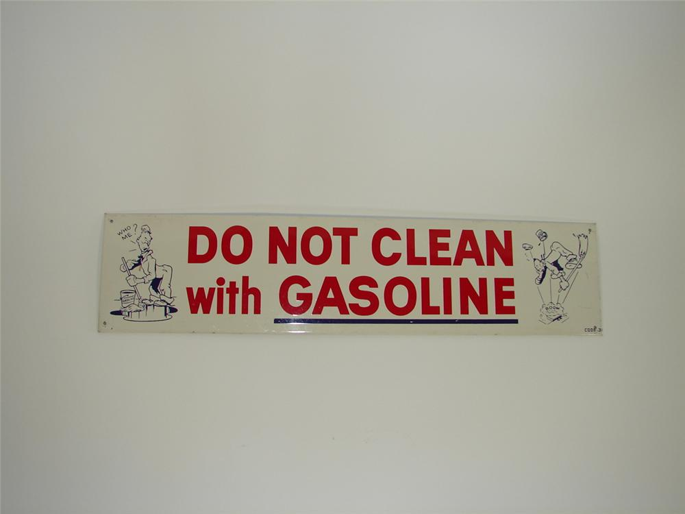 Fun 1940s Do Not Clean with Gasoline tin painted single-sided garage sign. - Front 3/4 - 79440