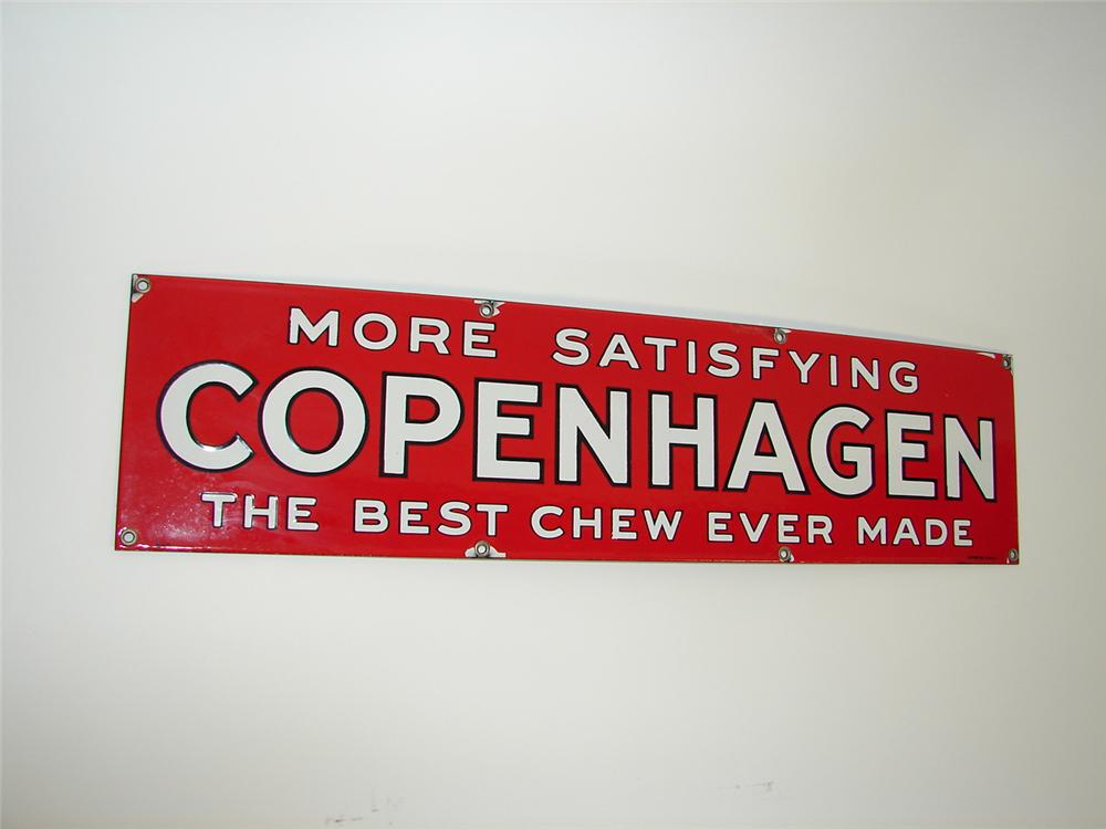 N.O.S. 1938 Copenhagen Chewing Tobacco single-sided porcelain general store sign. - Front 3/4 - 79441