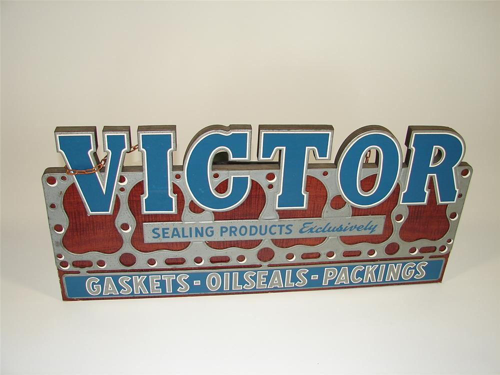 Superb N.O.S. late 30s-40s Victor Gaskets-OilSeals-Packings three dimensional compressed board garage sign. - Front 3/4 - 79442