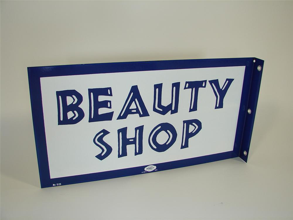 N.O.S. late 50s-early 60s Beauty Shop double-sided porcelain sign. - Front 3/4 - 79443