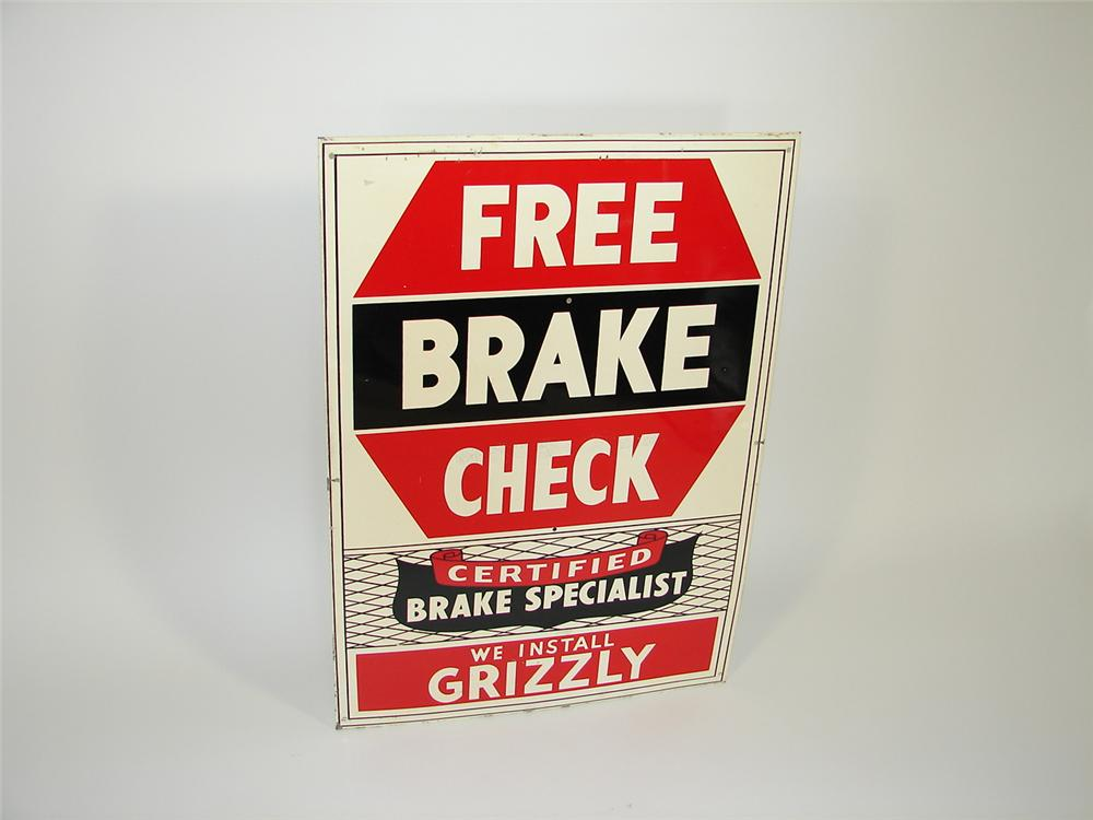 1950s Grizzly Brake Service single-sided tin garage sign. - Front 3/4 - 79444
