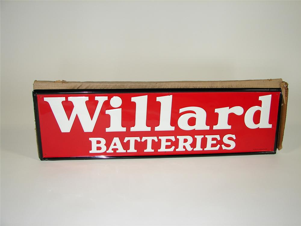 Immaculate N.O.S. 1950s Willard Batteries single-sided tin painted garage sign still in the original shipping box. - Front 3/4 - 79447