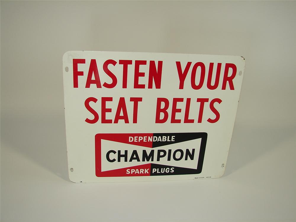 Interesting 1960s Champion Spark Plugs double-sided tin Airport Runway sign. - Front 3/4 - 79448