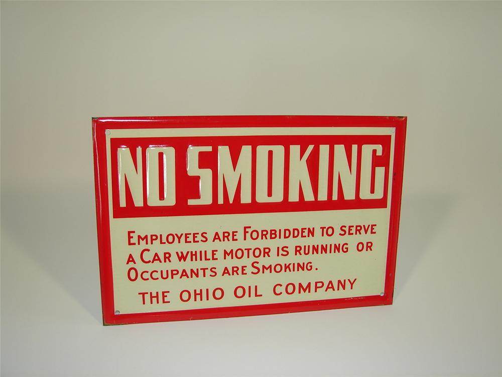 "N.O.S. 1930s Ohio Oil Company ""No Smoking"" single-sided tin painted service station sign. - Front 3/4 - 79451"