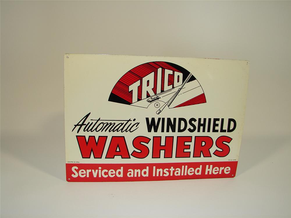 N.O.S. 1940s Trico Windshield Washers single-sided tin garage sign with period car graphic. - Front 3/4 - 79452