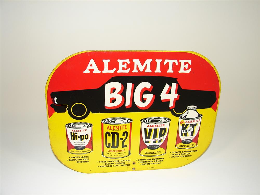 1960s Alemite Big 4 Engine Additives double-sided tin display sign. - Front 3/4 - 79453