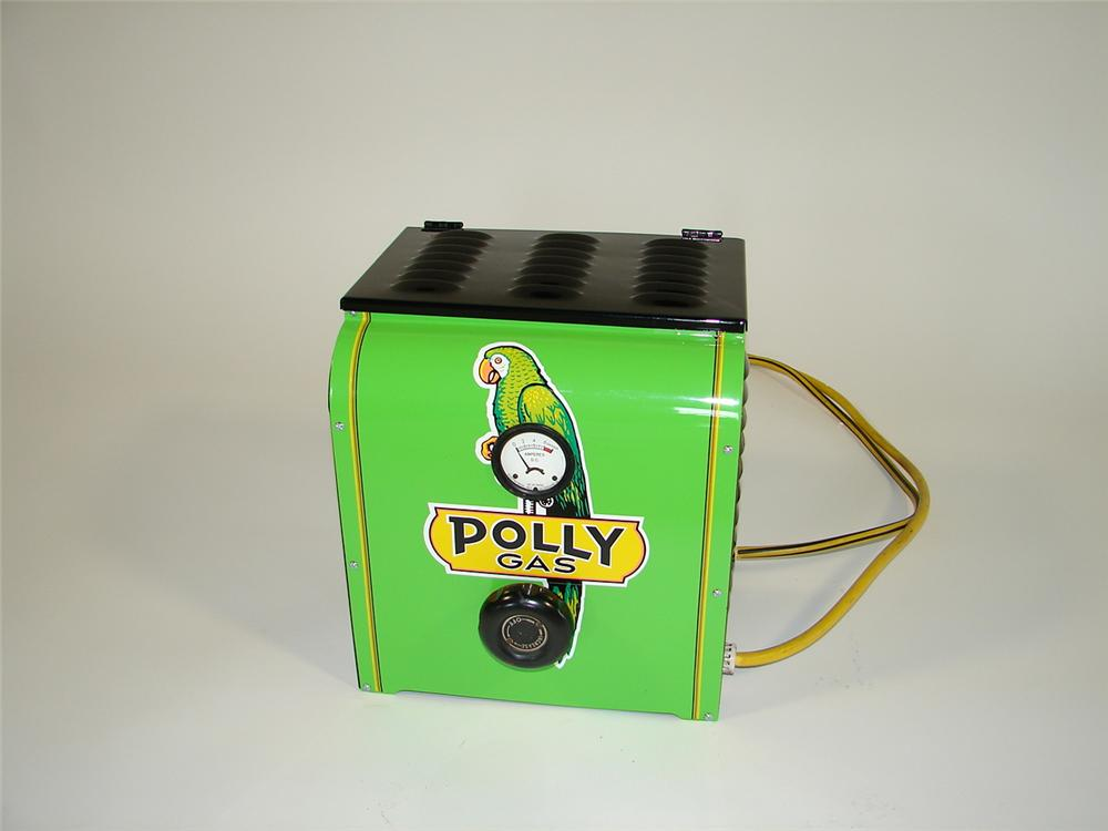 Exceptional 1940s Polly Gasoline restored service station battery charger and tester. - Front 3/4 - 79455