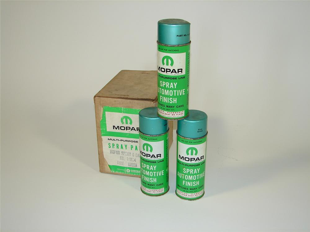 Lot of six late 1960s Mopar Touch-Up spray cans still in the original box. - Front 3/4 - 79464
