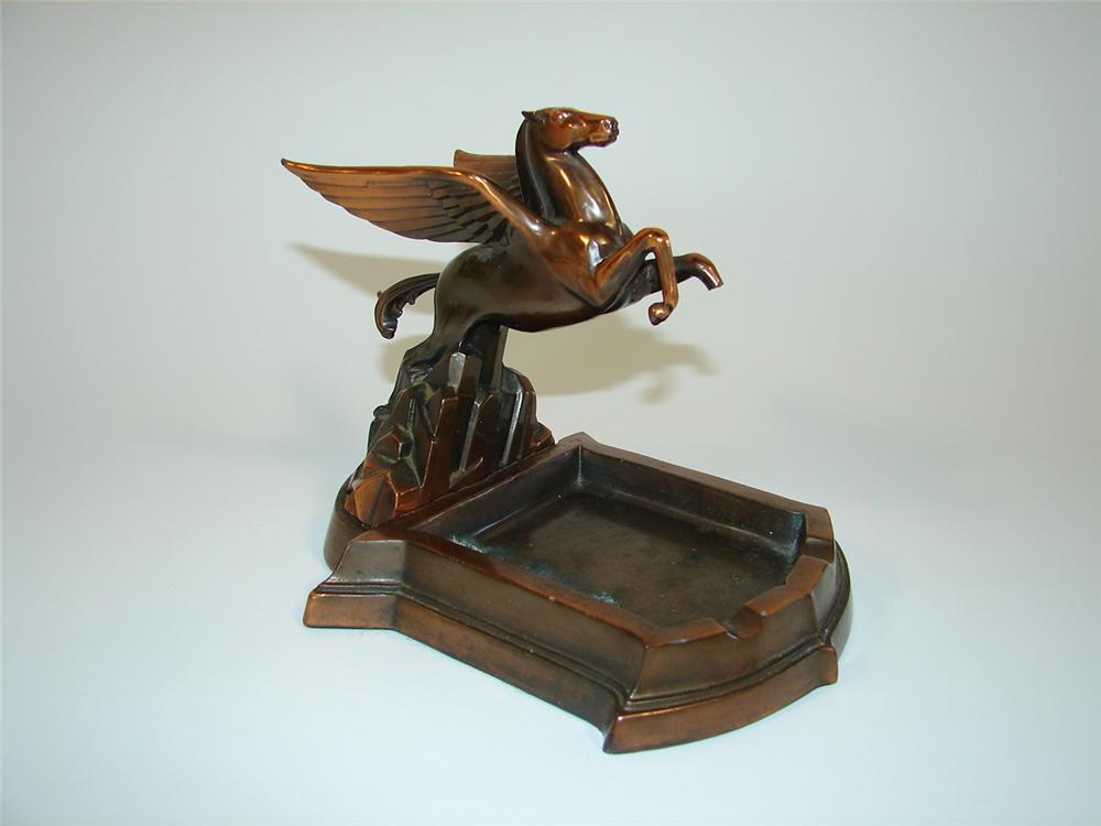 Magnificent 1930s Mobil dealer award bronze Pegasus ashtray. - Front 3/4 - 79468