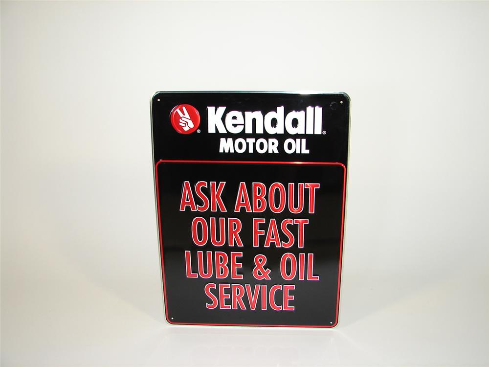 "N.O.S. Kendall Motor Oil ""Fast Lube Service"" single-sided tin painted service department sign. - Front 3/4 - 79470"