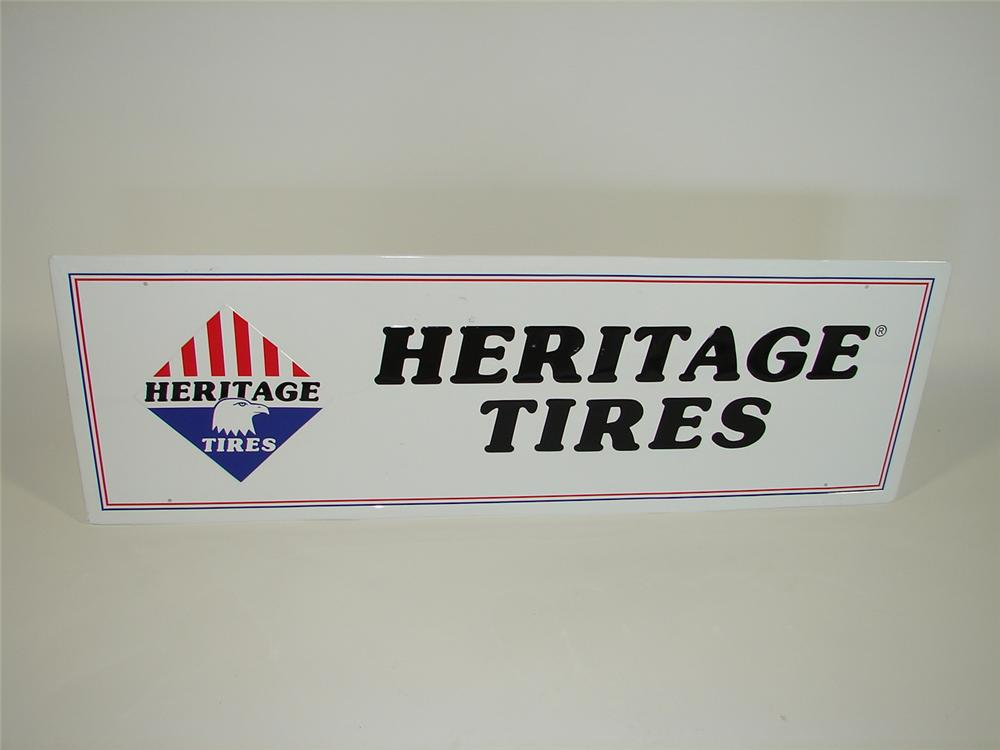 Very clean Heritage Tires single-sided tin garage sign. - Front 3/4 - 79472