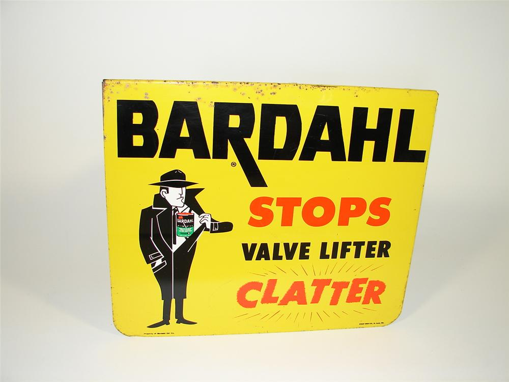 "Bardahl Oil Additive ""Stops Clatter"" single sided tin garage sign. - Front 3/4 - 79473"