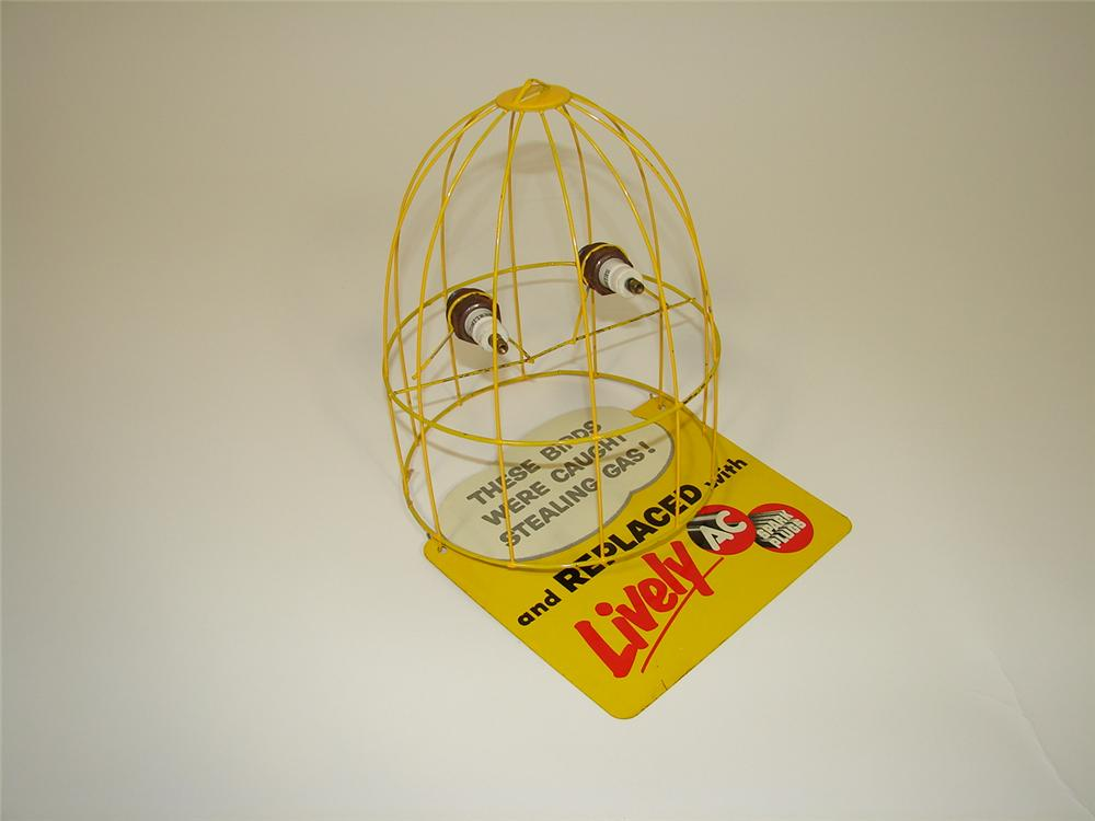 Nifty N.O.S. 1950s AC Spark Plugs bird cage motif three dimensional garage promotional tin display. - Front 3/4 - 79478