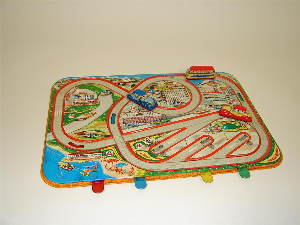 Very clean late 1950s Traffic Control childrens toy with original metal friction drive cars included. - Front 3/4 - 79480