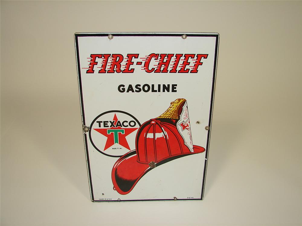 1945 Texaco Fire Chief Gasoline single-sided porcelain pump plate sign. - Front 3/4 - 79483