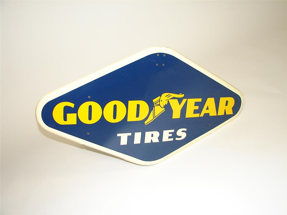 1959 Goodyear Tires single-sided tin garage sign. - Front 3/4 - 79486